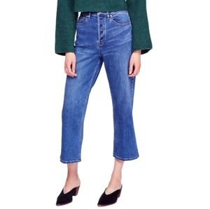FREE PEOPLE HIGH RISE WILES WIDE LEG CROP JEANS D